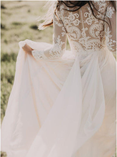 A-line Scoop Lace Wedding Dress Long Sleeve Rustic Wedding Dresses AMY1411 - onlybridals