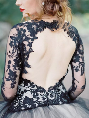 A-line V neck Long Sleeve Black Lace Gorgeous Wedding Dress Modest Bride Gowns AMY1582 - onlybridals