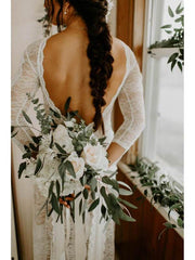 See Through Backless Wedding Dresses Long Sleeve Ivory Lace Wedding Dresses AMY2533 - onlybridals