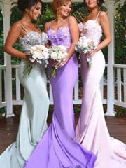 onlybridals Satin Mermaid Spaghetti Straps Bridesmaid Dresses, Wedding Party Dresses