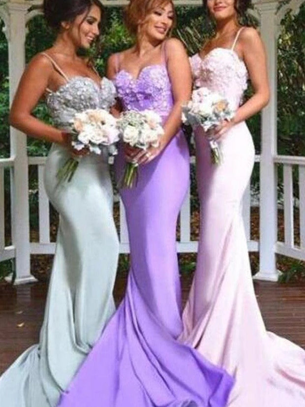 onlybridals Satin Mermaid Spaghetti Straps Bridesmaid Dresses, Wedding Party Dresses - onlybridals