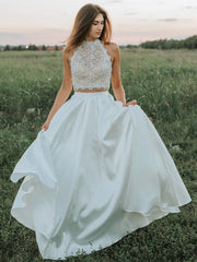 A Line Two Pieces Lace White Prom Dresses, White Lace Formal Dresses, Two Pieces White Evening Dresses
