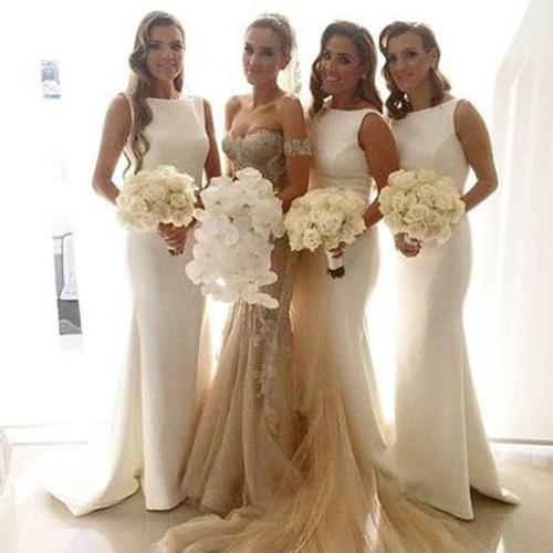 onlybridals White Elegant Simple Mermaid Long Wedding Party Dress Bridesmaid Dresses