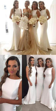 onlybridals White Elegant Simple Mermaid Long Wedding Party Dress Bridesmaid Dresses - onlybridals
