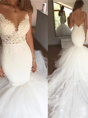 onlybridals Charming Lace Mermaid Wedding Dresses Spaghetti Straps Sexy V Neck Tulle Backless African Sheer Bodice Bridal Gowns - onlybridals