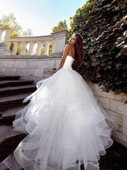 onlybridals White Wedding Dresses Tulle Simple Ball Gown wedding dresses Bridal Gowns - onlybridals
