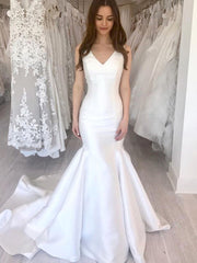 onlybridals V-neck Mermaid Wedding Dress Satin Elegant Bridal Dresses Chapel Train Custom Simple Wedding Dress - onlybridals
