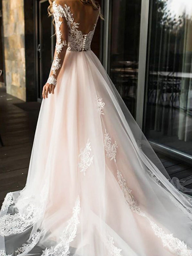 onlybridals Elegant Lace Wedding Dress Simple A Line Bridal Dress V-Neck Sexy  Wedding Gowns - onlybridals