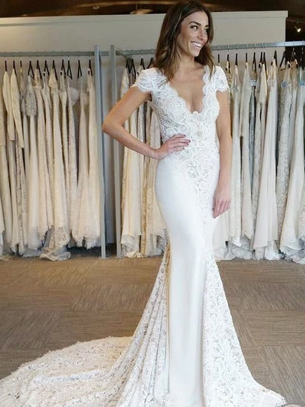 onlybridals Sexy Mermaid Deep V-Neck Cap Sleeves Open Back Long Wedding Dresses With Lace - onlybridals