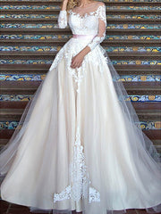 onlybridals Champagne Wedding Dress  Appliques Lace Sexy See Through Back White Ivory Wedding Gown - onlybridals