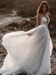 onlybridals Spaghetti Straps Chiffon Beach Wedding Dress Robe de mariee Bride Gown - onlybridals