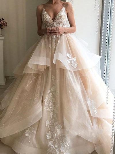onlybridals Wedding Dresses Tulle Appliques Champagne Ruffled Organza Custom Made Puffy Bridal Gown - onlybridals