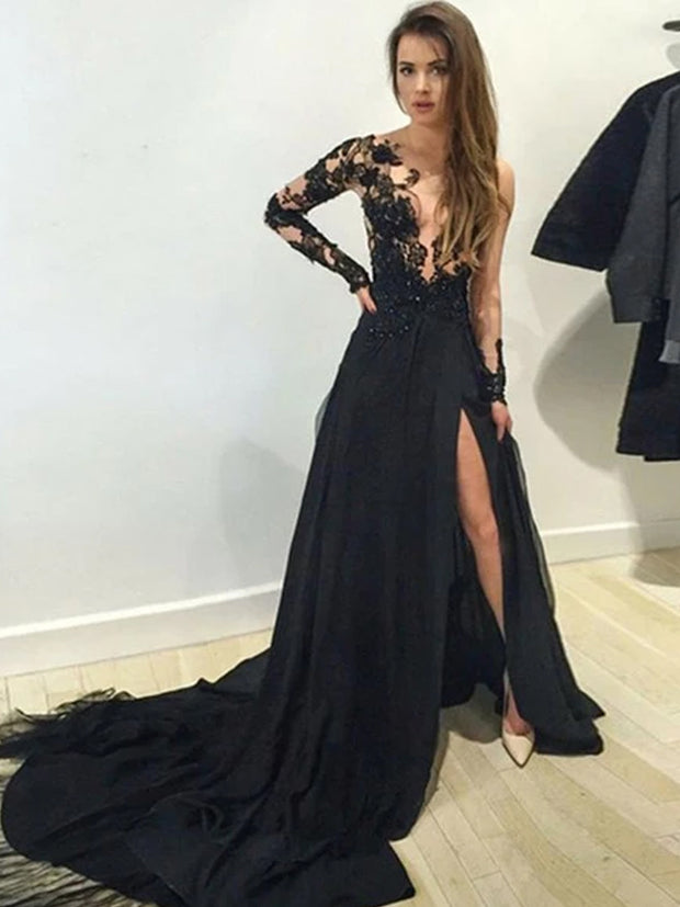 onlybridals A-Line V-Neck Long Sleeves Side Slit Black Chiffon Sweep Train Prom Dresses With Appliques