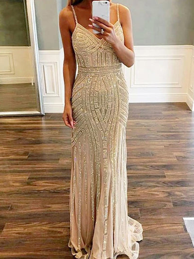 onlybridals Sexy V-Neck Spaghetti Straps Custom Long Prom Dresses With Beading - onlybridals