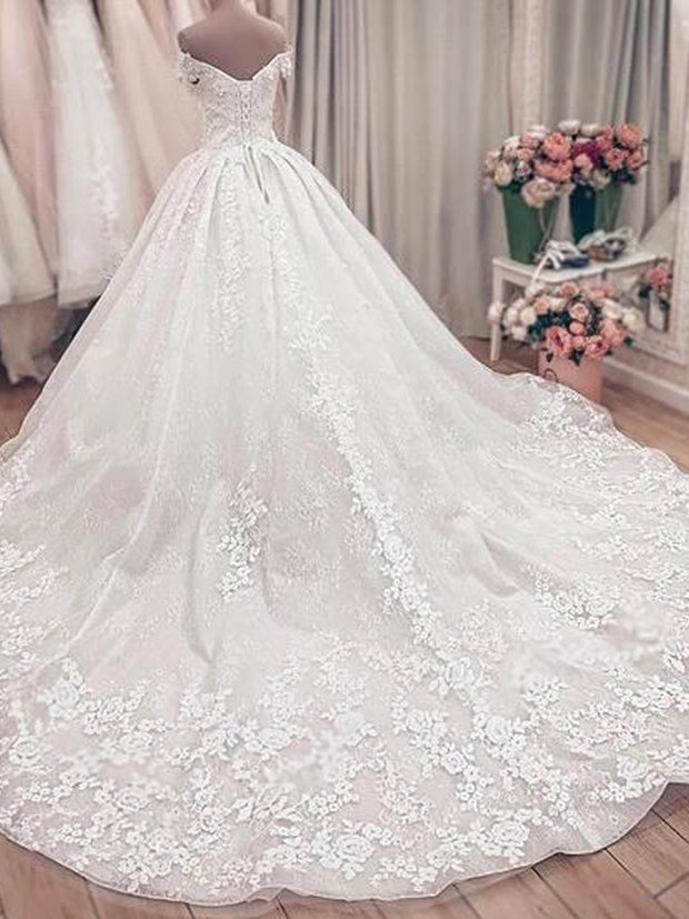 onlybridals Gorgeous Lace Ball Gown Wedding Dresses Princess  Off The Shoulder Lace Wedding Gowns - onlybridals