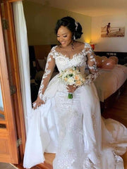 African Wedding Dresses Lace Long Sleeve Round Mermaid Bridal Wedding Dress with Detachable Overskirt Neck Custom Made