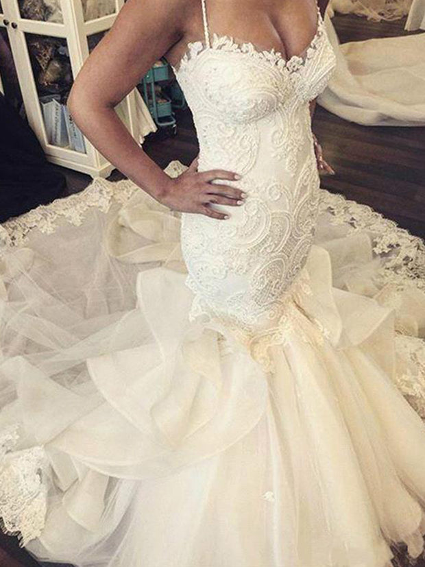 Hot Sexy Mermaid Wedding Dresses Spaghetti Straps Lace Appliques Ruffles Long Chapel Train Button Back Plus Size Formal Bridal