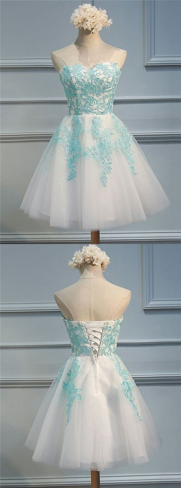 Tulle A-line Sweetheart Appliques Open Back Homecoming Dresses, MH358 - onlybridals