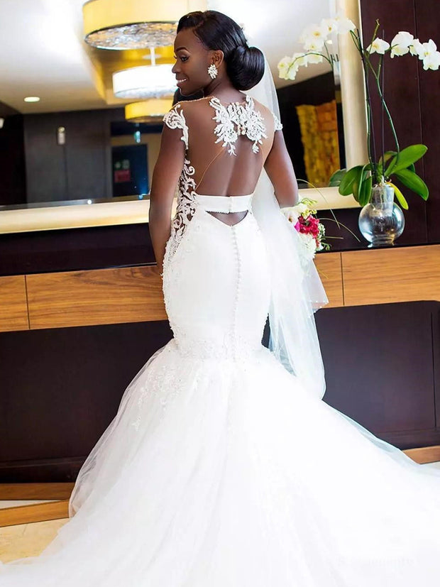 African Mermaid Wedding Dresses 2020 Sexy Illusion Open Back Applique Lace Beaded Long Train Trumpet Bridal Dress Wedding Gowns