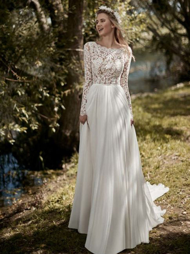 onlybridals Boho Long Sleeves Wedding Dress Lace Top New Bridal Dress Chiffon Wedding Gowns - onlybridals