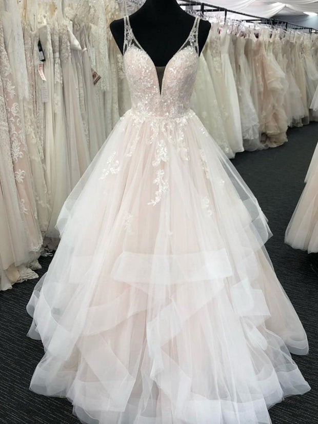 onlybridals New Charming Ruffles Beaded Lace Appliques Tulle Wedding Dresses V Neck Bridal Gowns - onlybridals