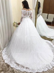 Beauty A-Line Long Sleeves Lace Wedding Dresses 20120 Sweep Train Bridal Gown Custom Made Robe de Mariee