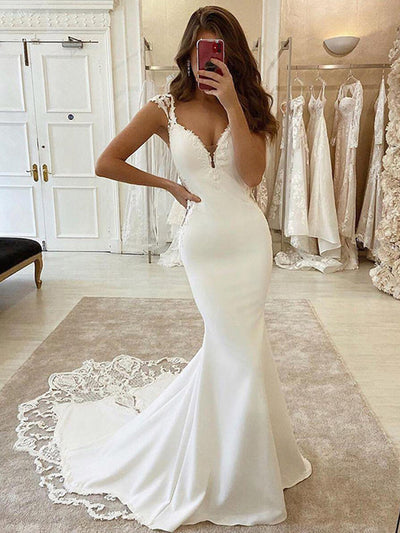 Mermaid Wedding Dresses V Neck Satin Appliqued Lace Bridal Gowns Vestido de novie Train Wedding Gowns Plus Size