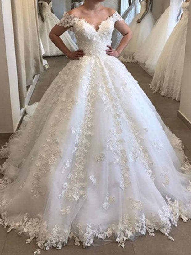onlybridals Elegant Off The Shoulder  Wedding Dress Appliques Tulle V Neck Lace Wedding Gown - onlybridals