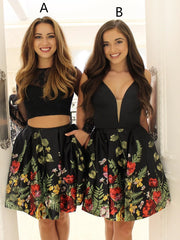 Two Piece Homecoming Dresses Little Black Dress Short Prom Dress Party Dress JK654 - onlybridals