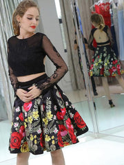 Two Piece Homecoming Dresses Little Black Dress Floral Print Short Prom Dress Party Dress JK677 - onlybridals