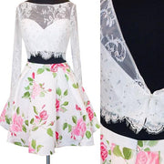 Two Piece Homecoming Dresses Long Sleeve Floral Print Short Prom Dress Party Dress JK679 - onlybridals
