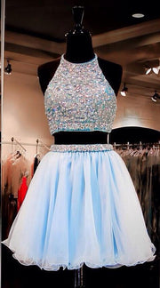 Two Piece Homecoming Dresses Rhinestone A Line Short Prom Dress Party Dress JK683 - onlybridals