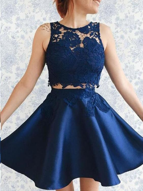 Two Piece Homecoming Dresses Aline Lace Cheap Short Prom Dress Party Dress JK684 - onlybridals