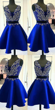 Two Piece Homecoming Dresses Royal Blue Beading Short Prom Dress Party Dress JK707 - onlybridals