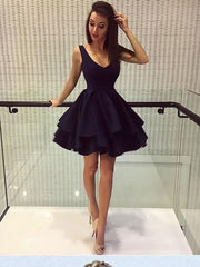onlybridals Simple Cheap Homecoming Dresses V-neck Little Black Dress Short Prom Dress Party Dress - onlybridals