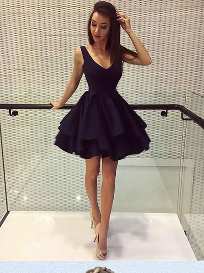 onlybridals Simple Cheap Homecoming Dresses V-neck Little Black Dress Short Prom Dress Party Dress - The Only Love Wedding Dress