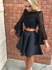 Two Piece Homecoming Dresses Little Black Dress Lace Short Prom Dress Sexy Party Dress JK749 - onlybridals