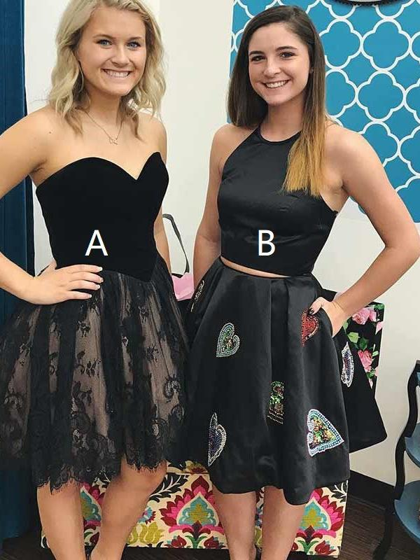 Two Piece Homecoming Dresses Little Black Dress Lace Short Prom Dress Party Dress JK756 - onlybridals