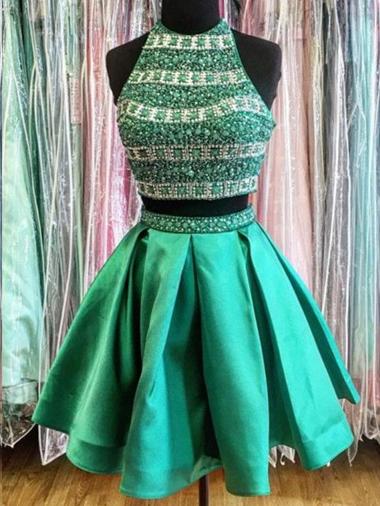 Two Piece Homecoming Dresses Hunter Green Sparkly Short Prom Dress Party Dress JK768 - onlybridals