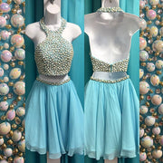 Two Piece Homecoming Dresses Beading Chiffon Short Prom Dress Halter Party Dress JK794 - onlybridals