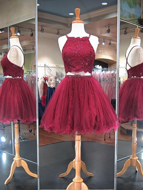 Two Piece Homecoming Dresses A-line Lace Burgundy Short Prom Dress Party Dress JK797 - onlybridals