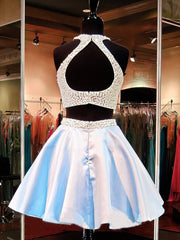 Two Piece Homecoming Dresses Beading Sparkly Short Prom Dress Sexy Party Dress JK798 - onlybridals