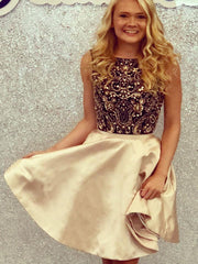 Sparkly Homecoming Dresses Aline Bateau Rhinestone Short Prom Dress Party Dress JK823 - onlybridals
