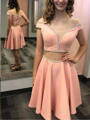 Two Piece Homecoming Dresses Aline Sparkly Short Prom Dress Sexy Party Dress JK830 - onlybridals