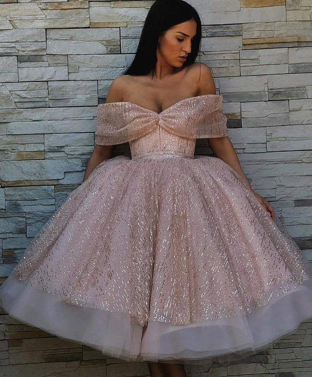 Sparkly Ball Gown Homecoming Dresses Tea-length Short Prom Dress Lace Party Dress JK839 - onlybridals