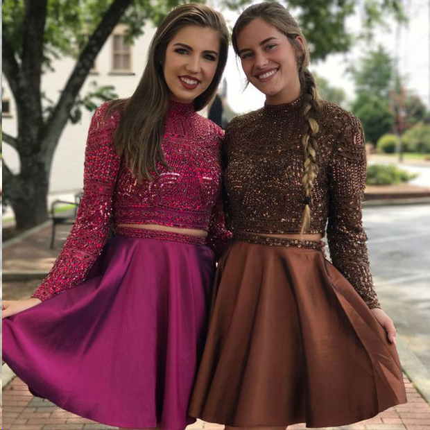 Two Piece Homecoming Dresses Long Sleeve Sparkly Short Prom Dress Party Dress JK858 - onlybridals