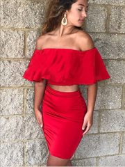 Two Piece Homecoming Dresses Red Simple Short Prom Dress Fashion Party Dress JK866 - onlybridals