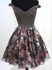 Sparkly Homecoming Dresses A Line Floral Print Short Prom Dress Beading Party Dress JK878 - onlybridals