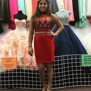 Two Piece Homecoming Dresses Aline Red White Sparkly Short Prom Dress Party Dress JK881 - onlybridals