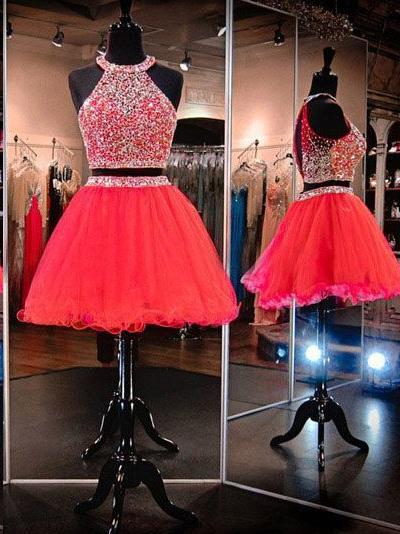 Two Piece Homecoming Dresses A-line Beading Sparkly Short Prom Dress Red Party Dress JK889 - onlybridals